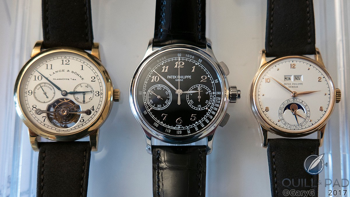 Three recent additions to the GaryG collection with the Patek Philippe Reference 5370P at center