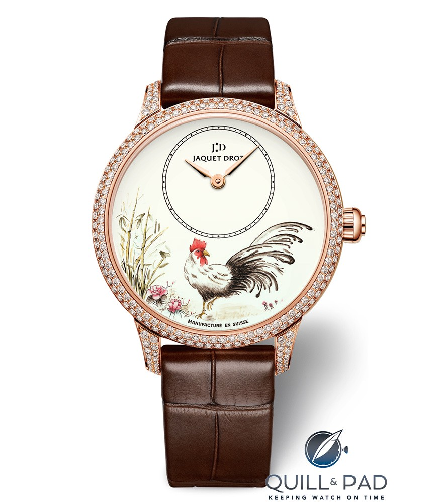 Jaquet Droz Petite Heure Minute Rooster with diamond-set bezel