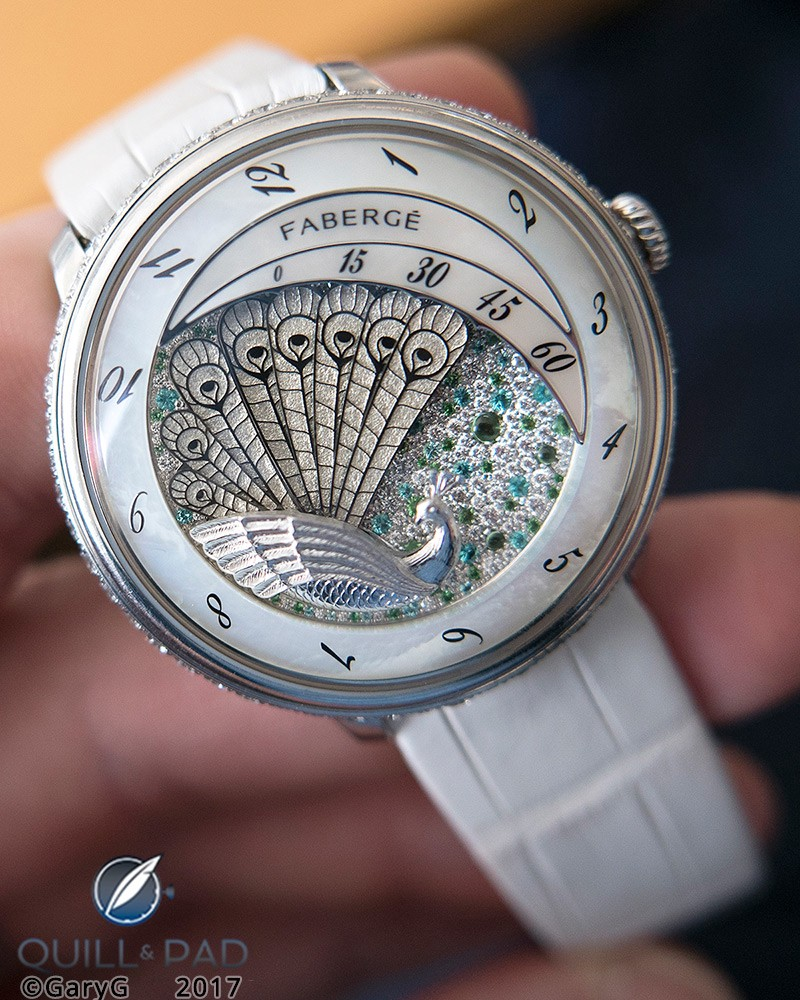 Beautiful, precise, and robust: multi-feather retrograde time indication, Fabergé Lady Compliquée