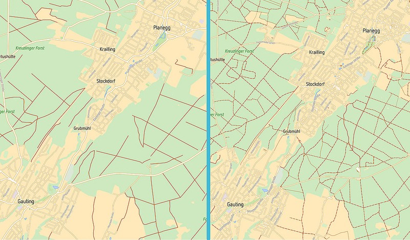 see a side by side comparison of a live map