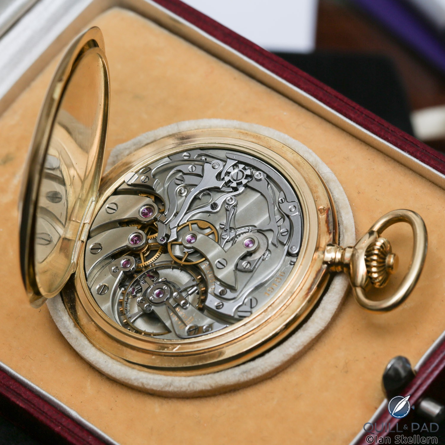 The movement of a Poitevin-LeJeune pocket watch chronograph from Gerd-Rüdiger Lang's extensive chronograph collection