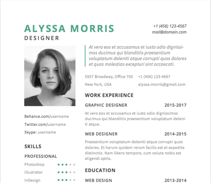 This Understated Illustrator Resume Template Has Two Features That Make It Ideal For Performers A Space Headshot And Short Intro