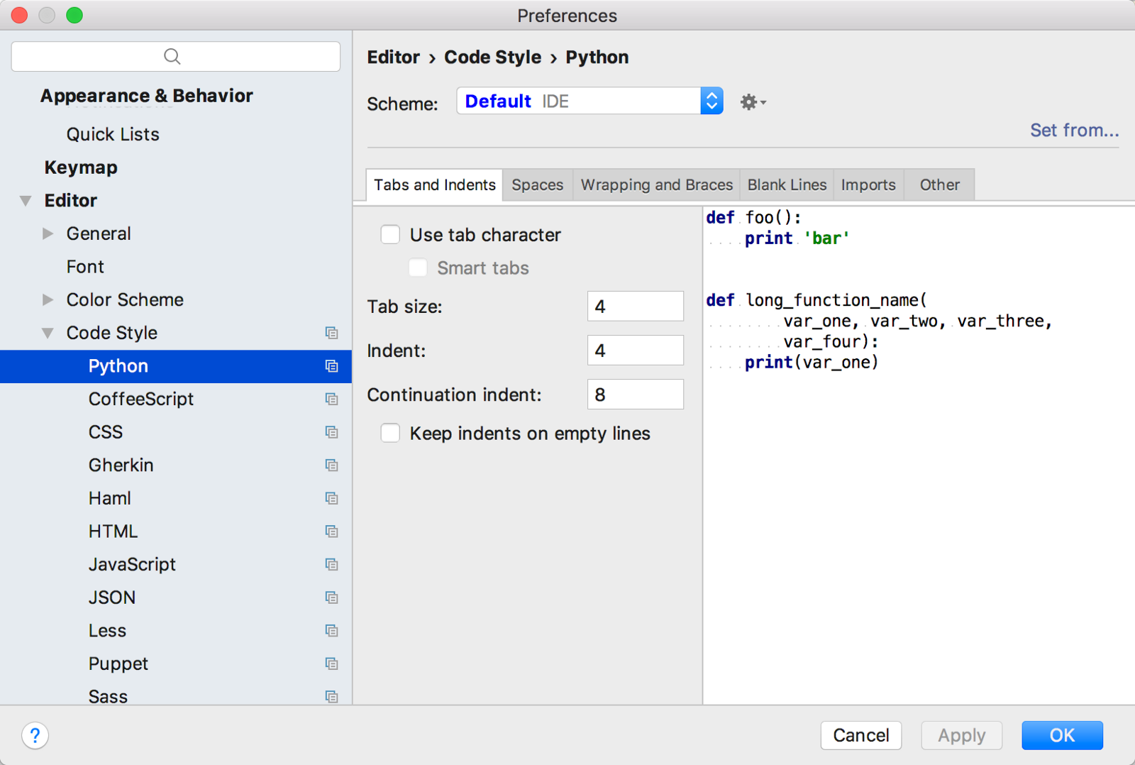 Learn python step by step beginner 01 tarun sharma medium code style can be defined for each language under file settings editor code style pycharm preferences editor code style for macos users ccuart Image collections
