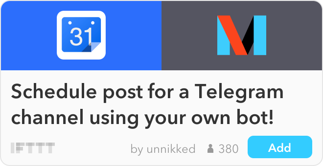 How to manage your telegram channel with your unique bot ifttt recipe schedule post for a telegram channel using your own bot connects google ccuart Gallery