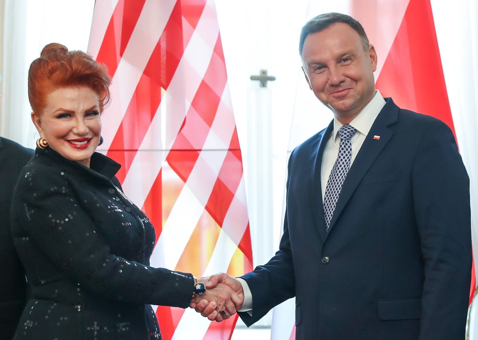 U.S. Ambassador to Poland Georgette Mosbacher greets Polish President Andrzej Duda during her credentialing ceremony in early September 2018.