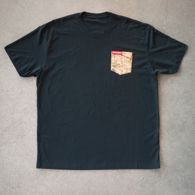 df83bfc7a Custom Pocket Tee Featuring Custom Clamp Tag and Map Graphic Design,  Produced For SRAM