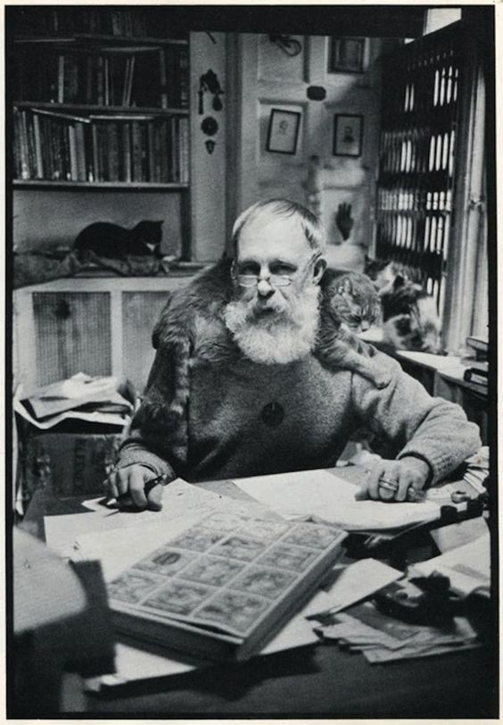 Edward Gorey with one of many practical cats.