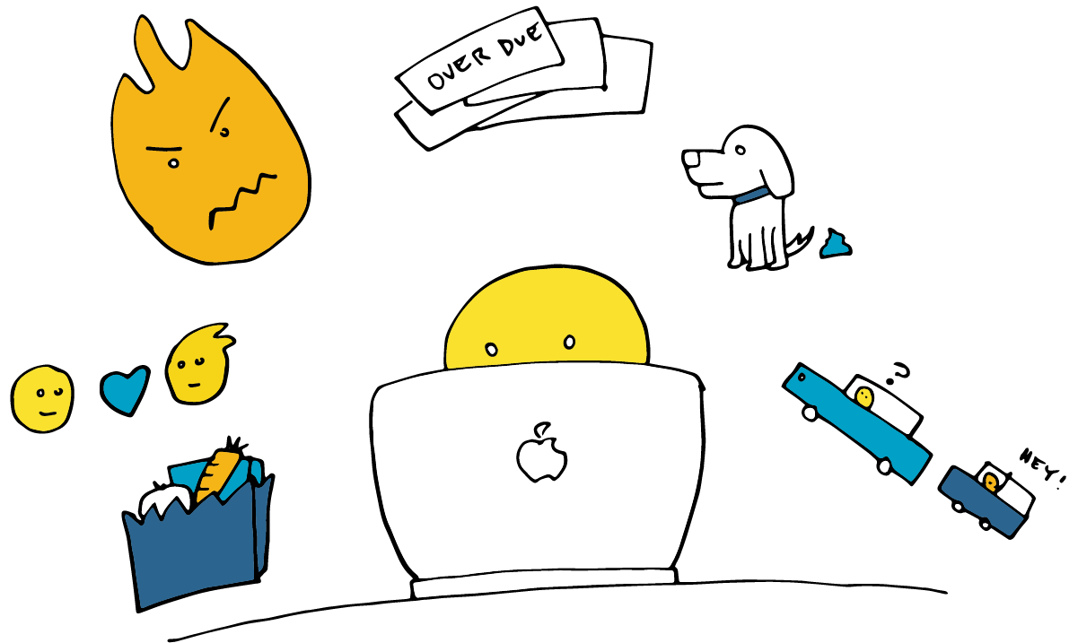 Illustration of person working at a computer, surrounding by the other things that are on their mind: bills, traffic jam, relationships, etc.