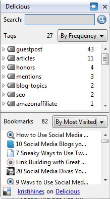 Delicious Firefox Add-On Bookmarks Sidebar