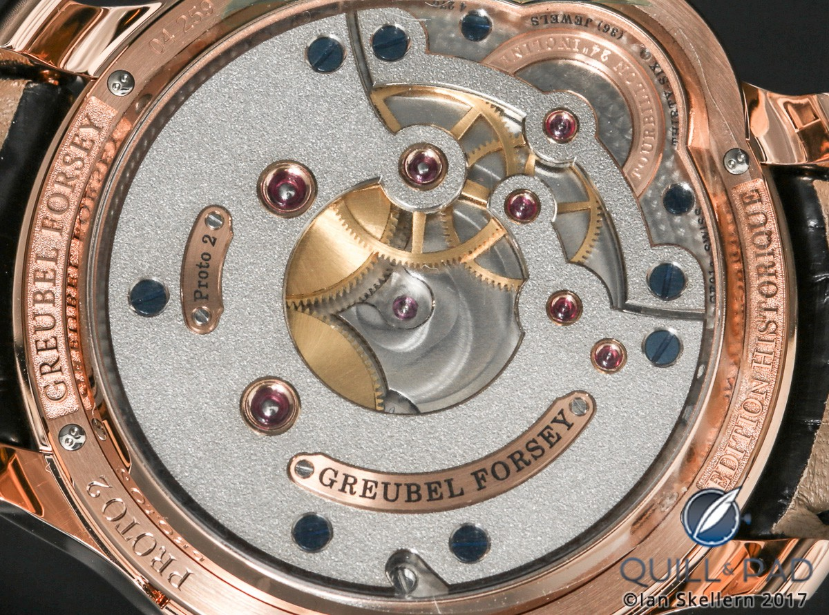 View through the display back of the Greubel Forsey Tourbillon 24 Secondes Edition Historique: note the frosted finish, over-sized jewels, gold chatons and beautifully polished chamfers with sharp internal edges