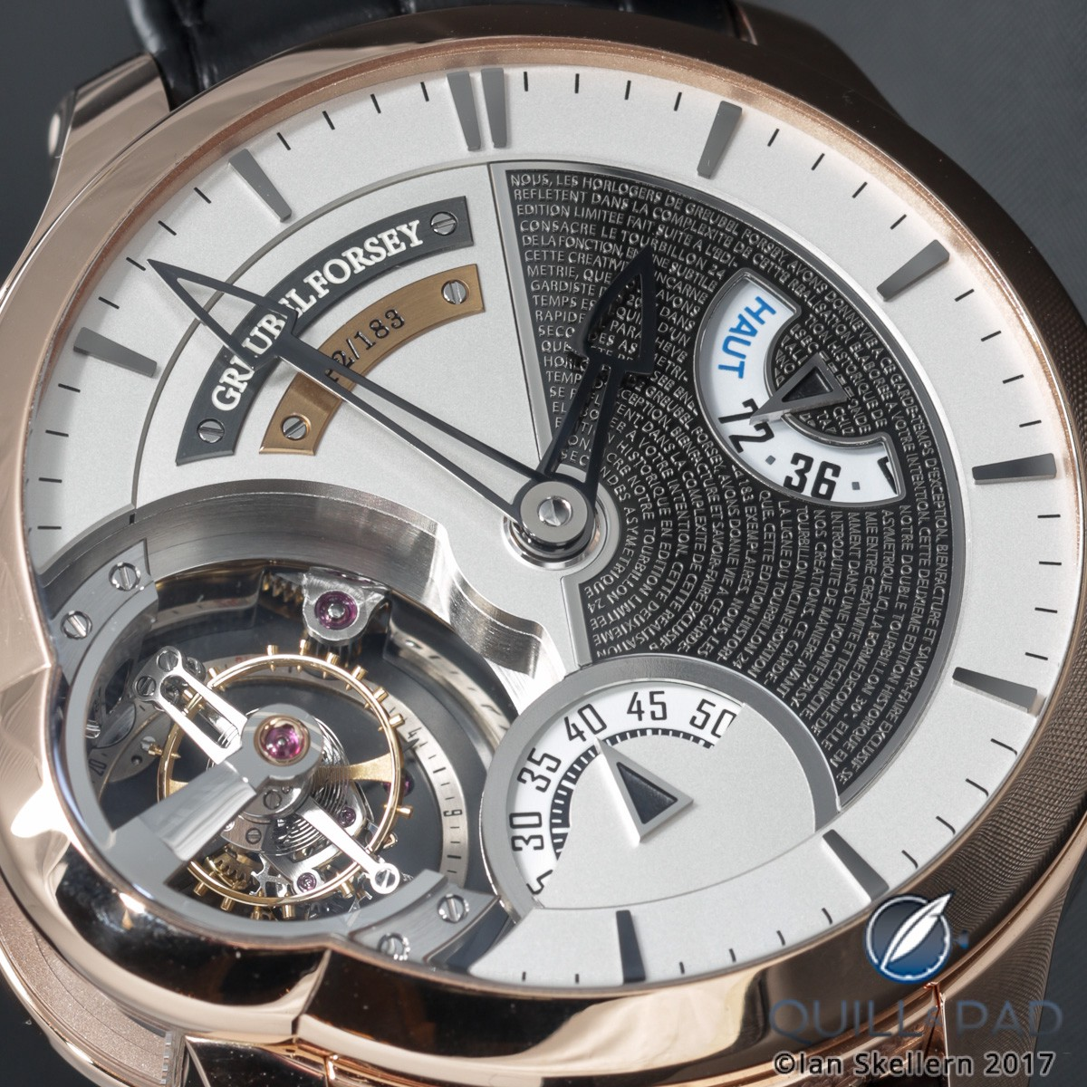Close up look dial side of the Greubel Forsey Tourbillon 24 Secondes Edition Historique in red gold