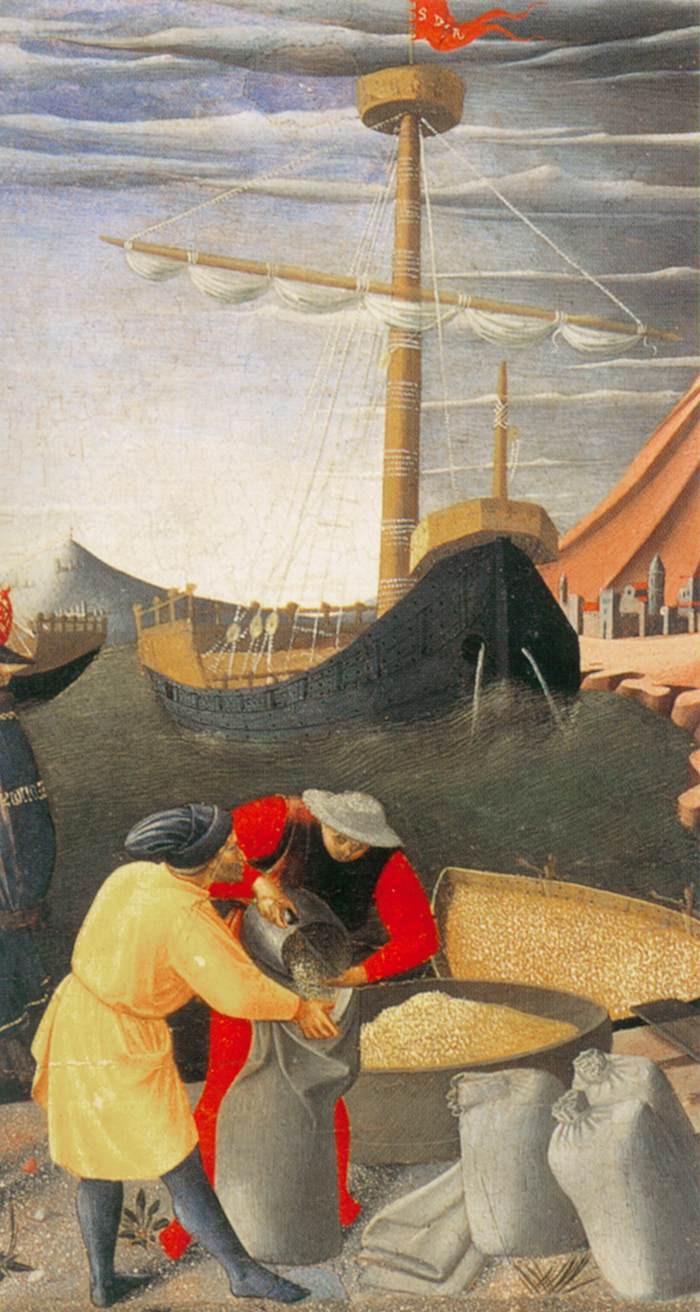 Fra Angelico, The Story of St. Nicholas St. Nicholas Saves the Ship (detail), 1447-48, tempera and gold on panel, Pinacoteca Vaticana
