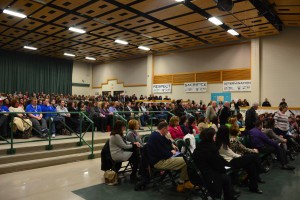 Hundreds Evesham teachers, administration members, faculty, parents and residents came out to support superintendent John Scavelli Jr. at the special meeting of the Evesham Board of Education on Feb. 25. The only vote at the meeting was whether the board would renew the Scavelli's contract.