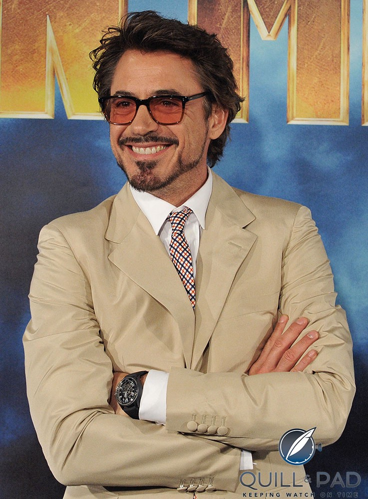 Robert Downey, Jr. wearing the Jaeger-LeCoultre Amvox 3 that he also wore in the film 'Iron Man 2'