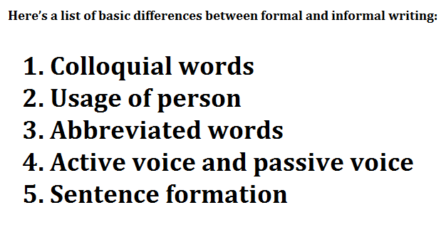 """paragraph in colloquial english describing the difference between colloquial and formal english There are, roughly speaking, two basic types of english input: formal and informal formal english is used in """"serious"""" texts and situations — for example, in official documents, books, news reports, articles, business letters or official speeches informal english is used in everyday conversations and in personal letters."""