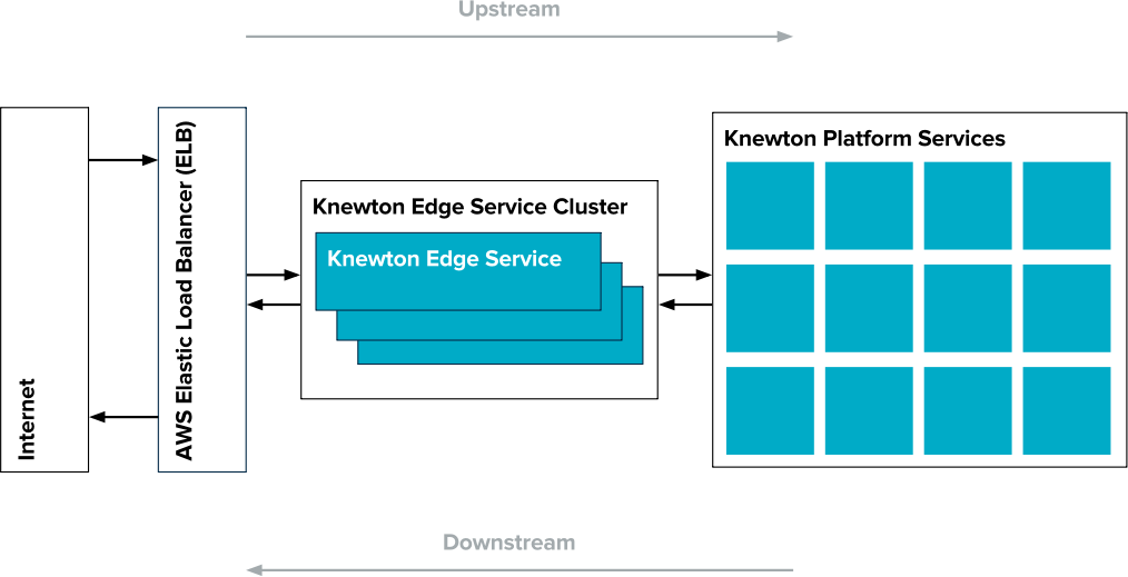 The edge service is Knewton's interface to the public internet. It is registered directly with an AWS Elastic Load Balancer (ELB), and is responsible for sanitizing and routing requests for the Knewton Platform. To maintain high availability, our edge service runs as a cluster. On startup, edge service nodes register themselves with the load balancer, which then distributes requests across the cluster.