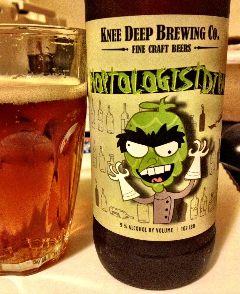 Hoptologist DIPA Knee Deep Brewing Co Lincoln CA 9 Abv