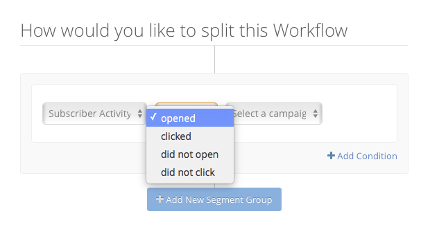 Dropdown with workflow options