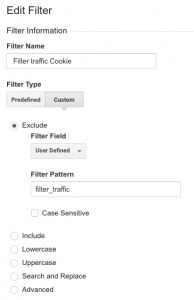 Filter traffic by cookie