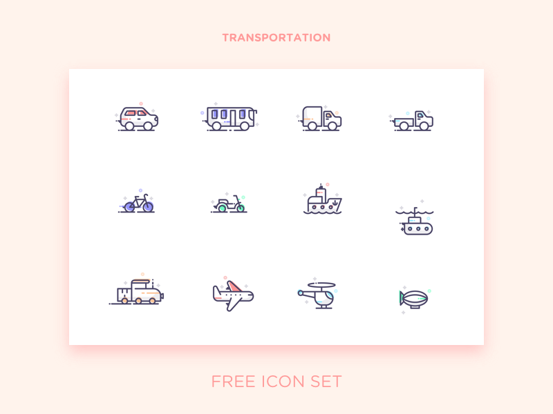 Transportation icon collection by Arzu Sendag