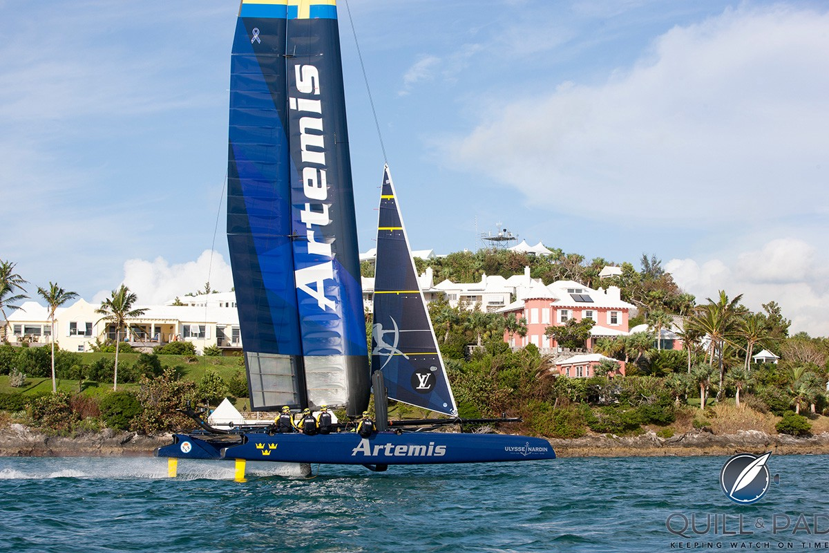 The Artemis Racing America's Cup sailing team, which is sponsored by Ulysse Nardin, training in Bermuda