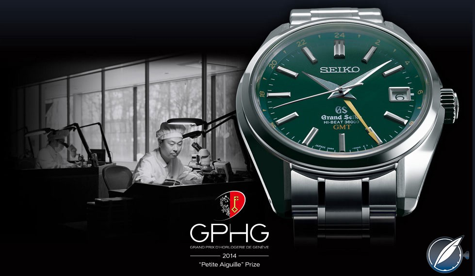 """The Grand Seiko Hi-Beat 36000 GMT was awarded the """"Petite Aiguille"""" prize for best watch under 8,000 swiss francs by the jury of the 2015 Grand Prix d'Horlogerie de Genève"""