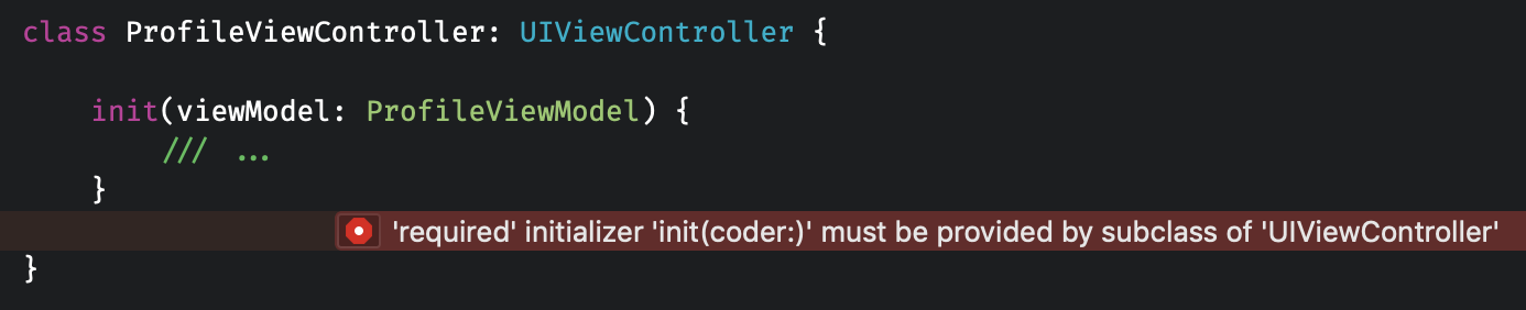 The required decoder initializer in view controllers