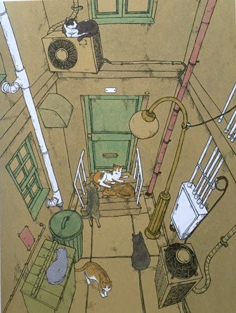 a cat of architect, cats in a small street