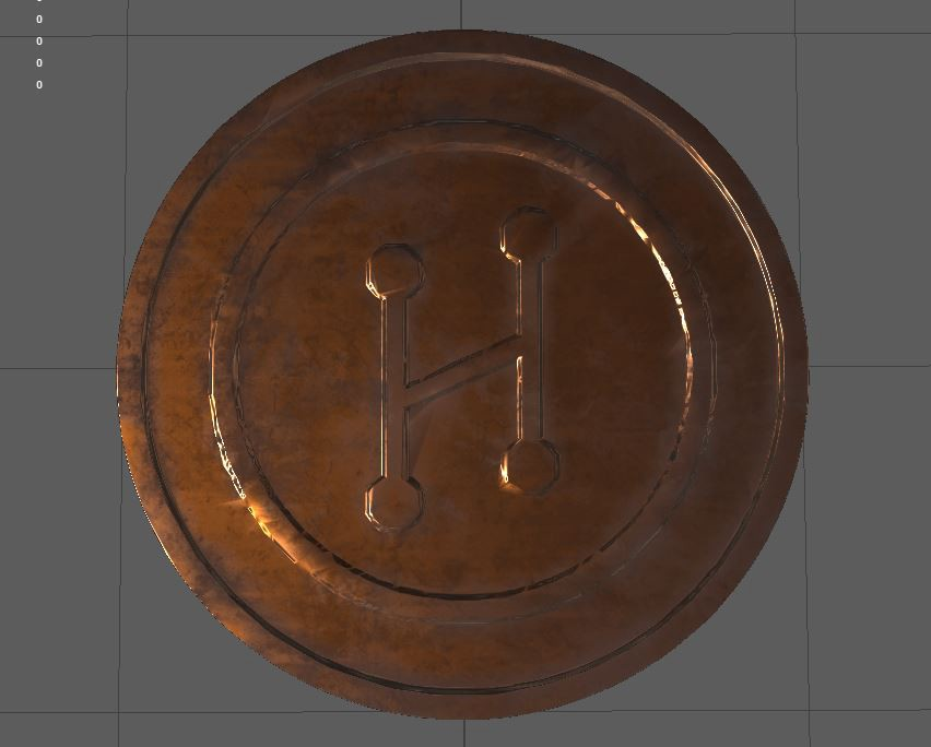 A High Fidelity coin created in Maya