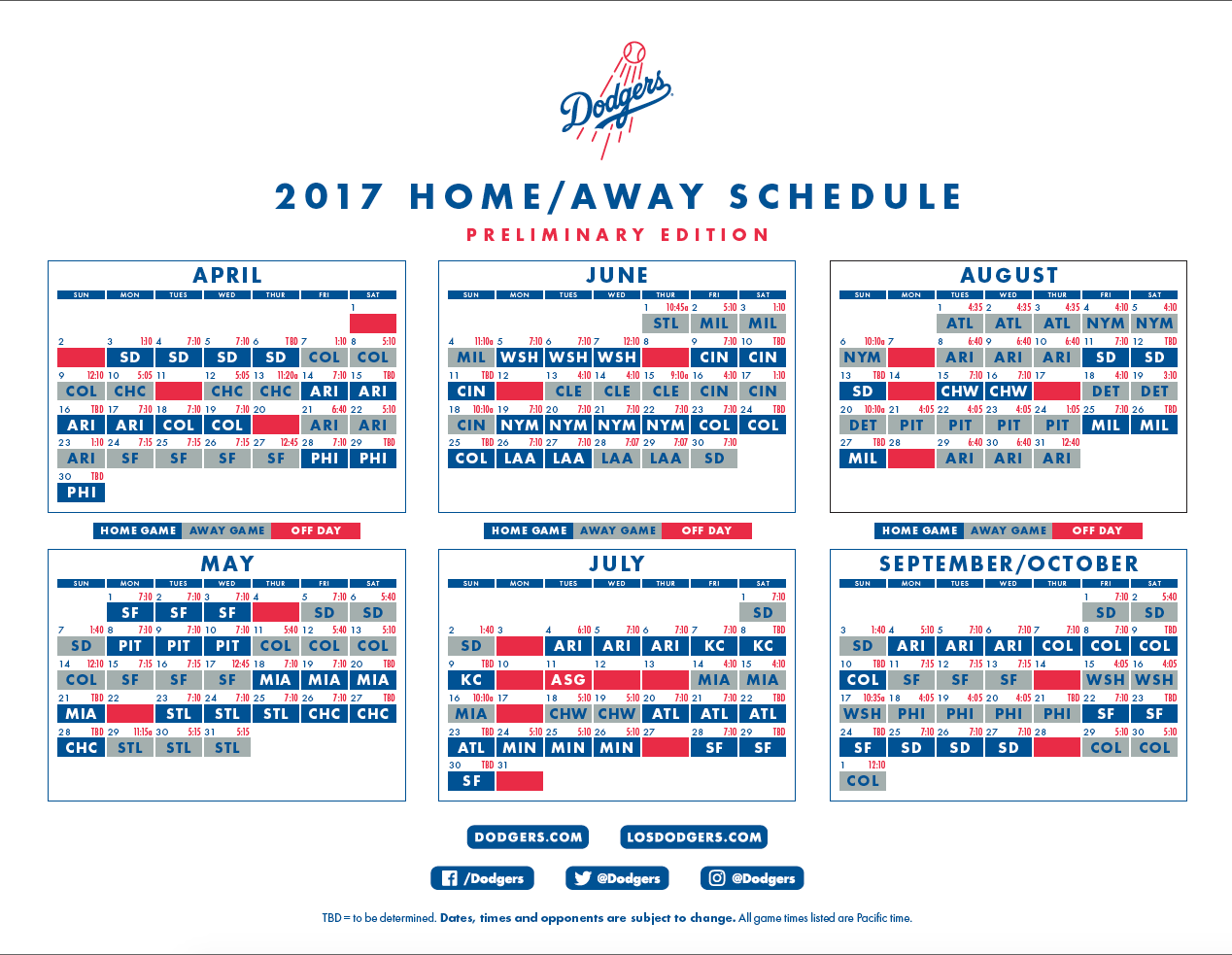 2017 dodgers schedule: all you need to know – dodger insider