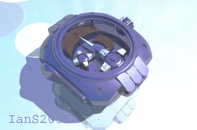 Early Urwerk CAD concept of a Harry Opus V case and dial layout