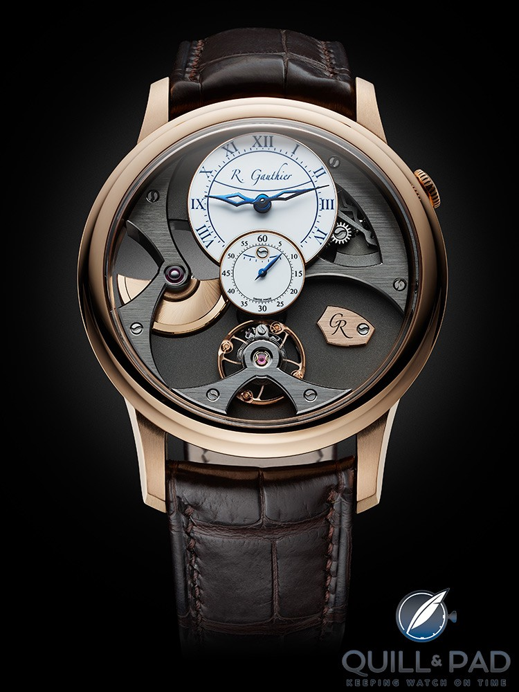Romain Gauthier Insight micro-rotor in limited edition red gold with white enamel dial