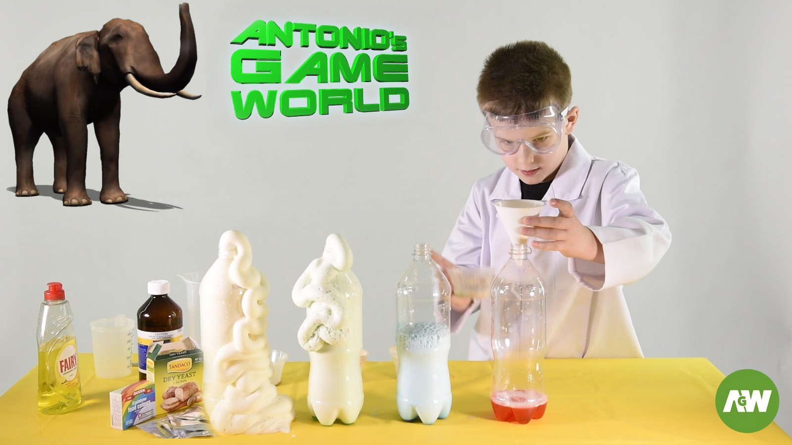 Elephant Toothpaste Experiment For Kids With Hydrogen Peroxide And Baking Yeast You