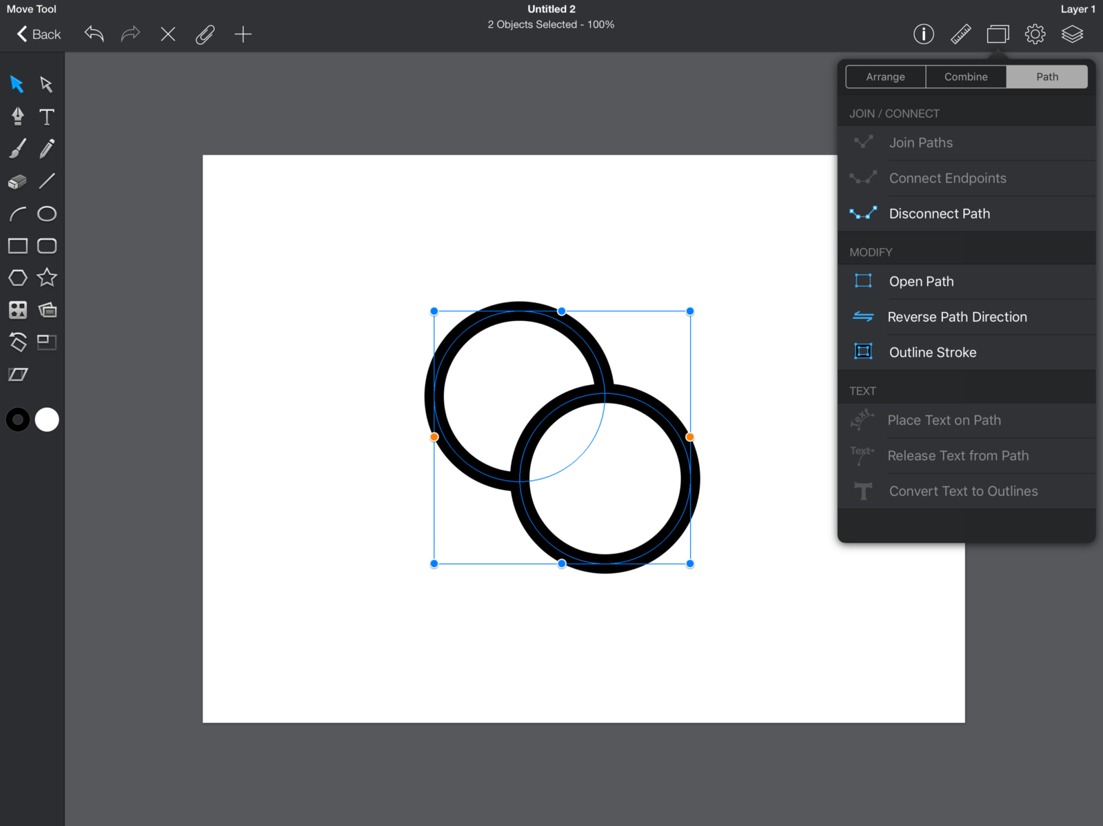 Does The Perfect Vector Editor For Ipad Exist Iconfinder Blog Create Block Diagram Best Drawing Program Mac Can Make A Compound Or Separate Path Tab Lets You Edit Your Anchor Points More Precisely Join Connect Disconnect Open