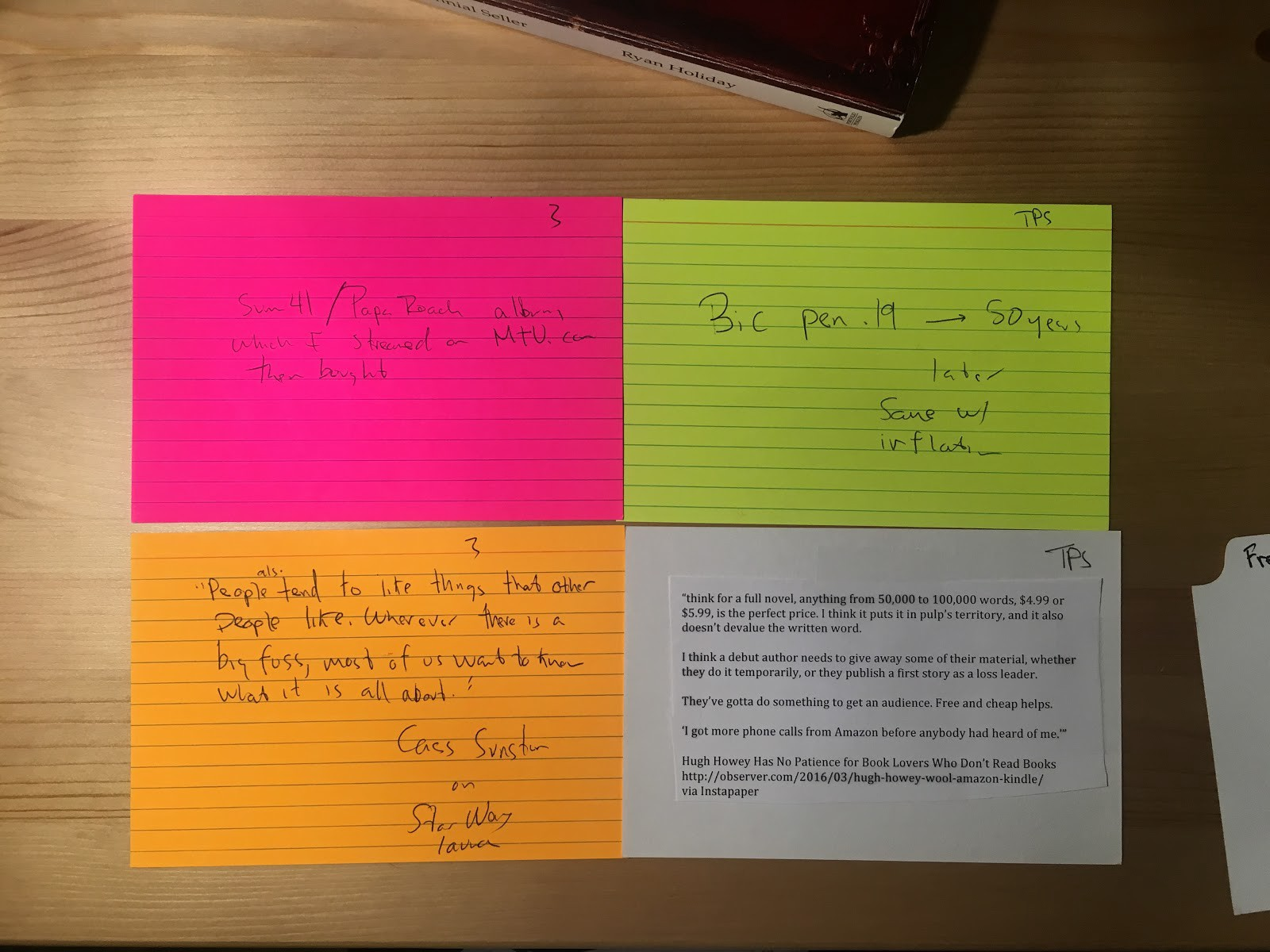 """Above, We See A Few Specific Notecards From The €�free"""" Chapter Of The  Marketing Section Of The Book The One Notecard On The Top Right About Bic  Ended Up In"""