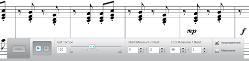 Have the ability to specify tempo, make music selections, and toggle fun accompaniment and metronome playback.