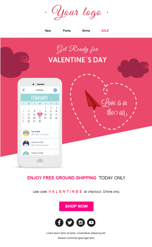 Valentines Day Email Template - Get Ready