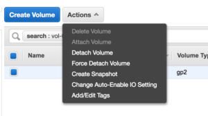 Attached Volume Actions