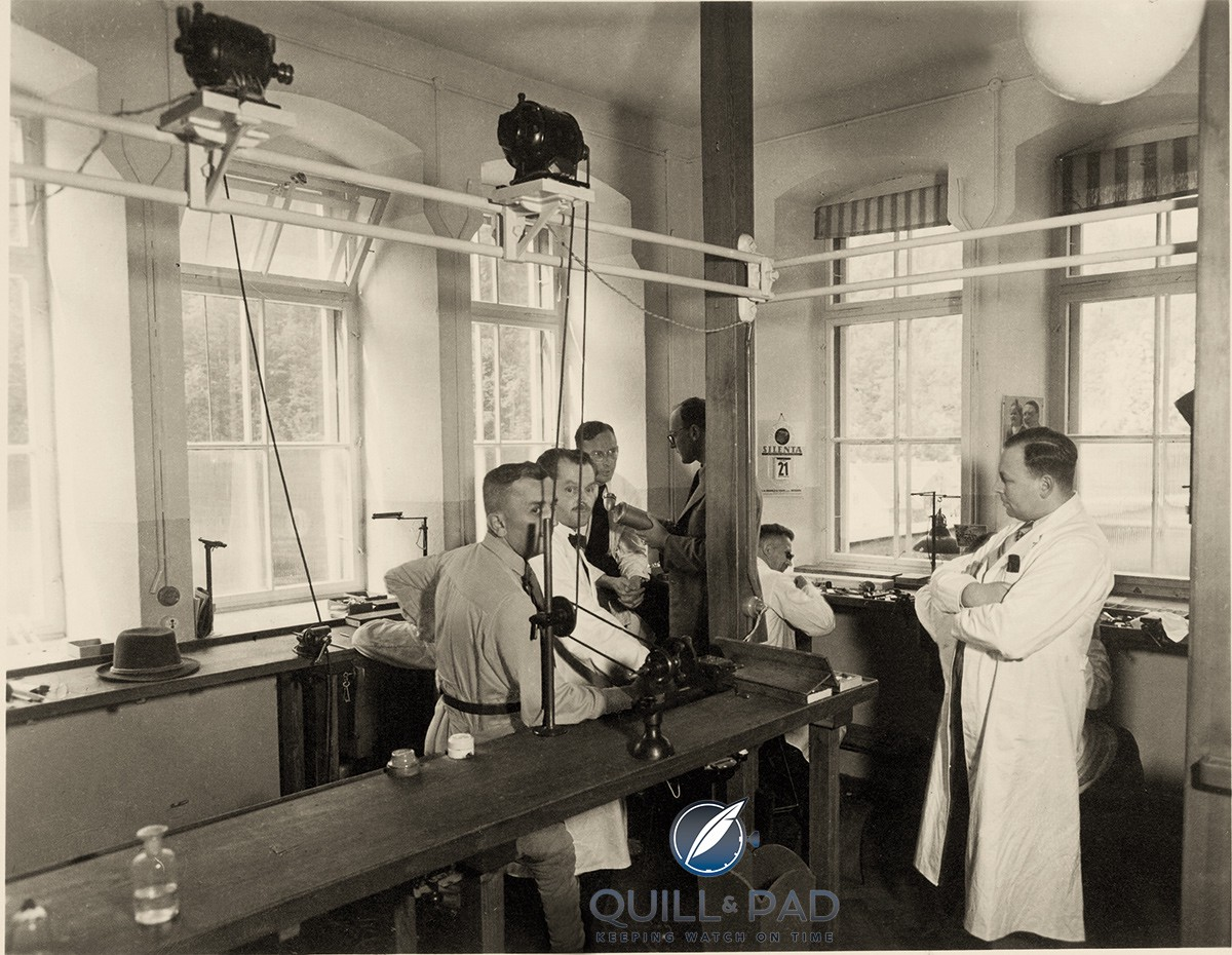 Dr. Ernst Kurtz and some of his watchmakers at Ufag in 1939