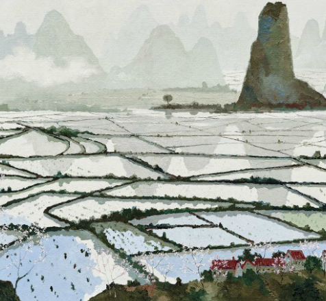 PANG JIUN (PANG JUN, CHINA, B.1936) EVERLASTING CLIFFS AND FARMLANDS signed in Chinese; dated '2016' (lower right) oil on canvas 100 x 200 cm. (39 3/8 x 78 3/4 in.) Painted in 2016