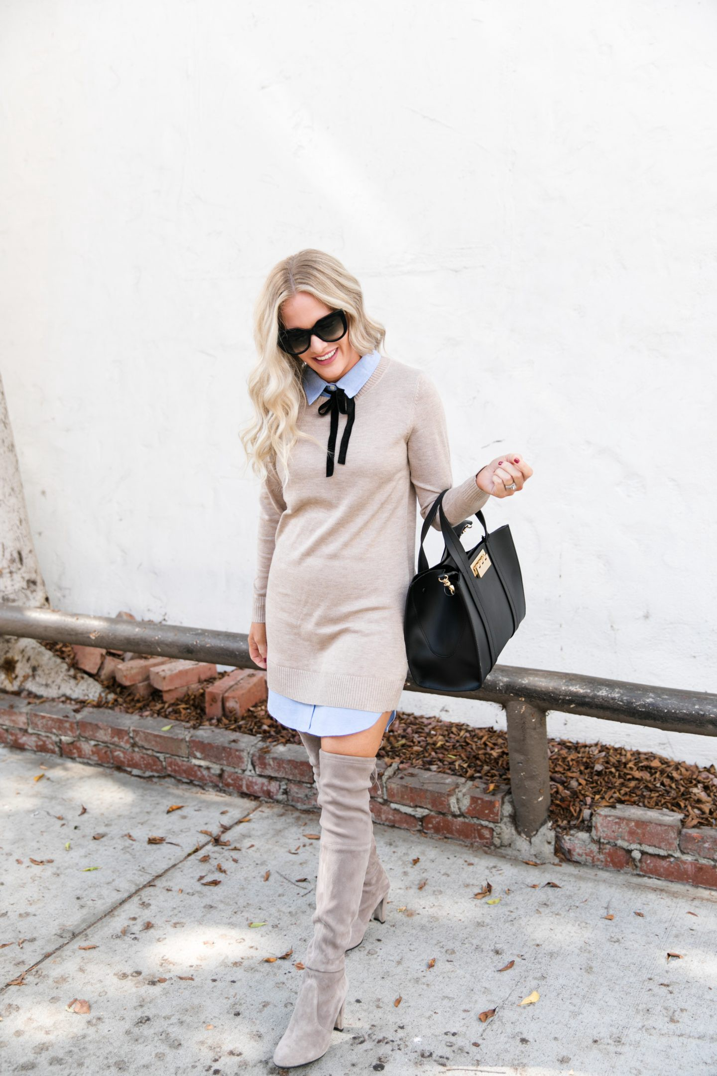 Suede Over The Knee Boots styled for Fall by top Orange County fashion blog, Dress Me Blonde