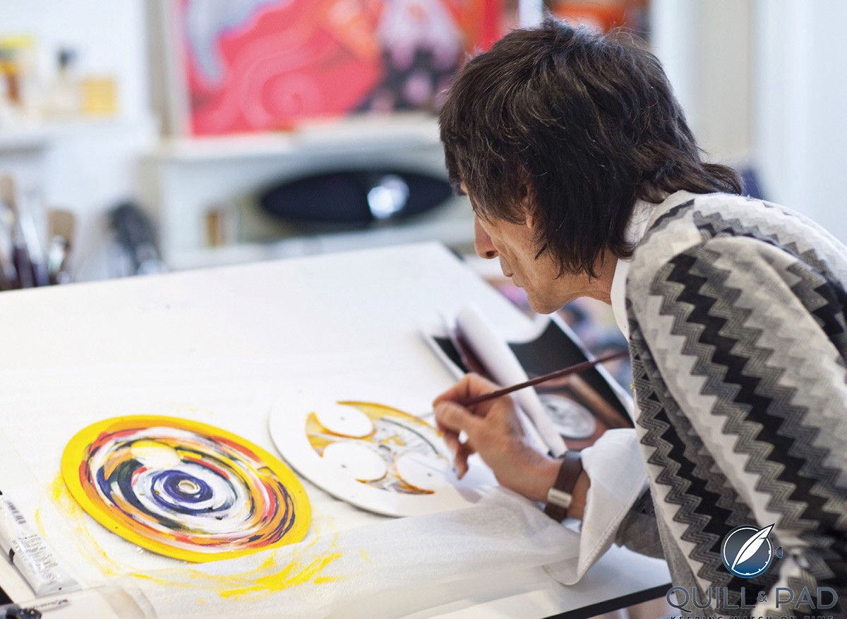 Ronnie Wood hard at work painting the second Bremont B1 Marine Clock dial