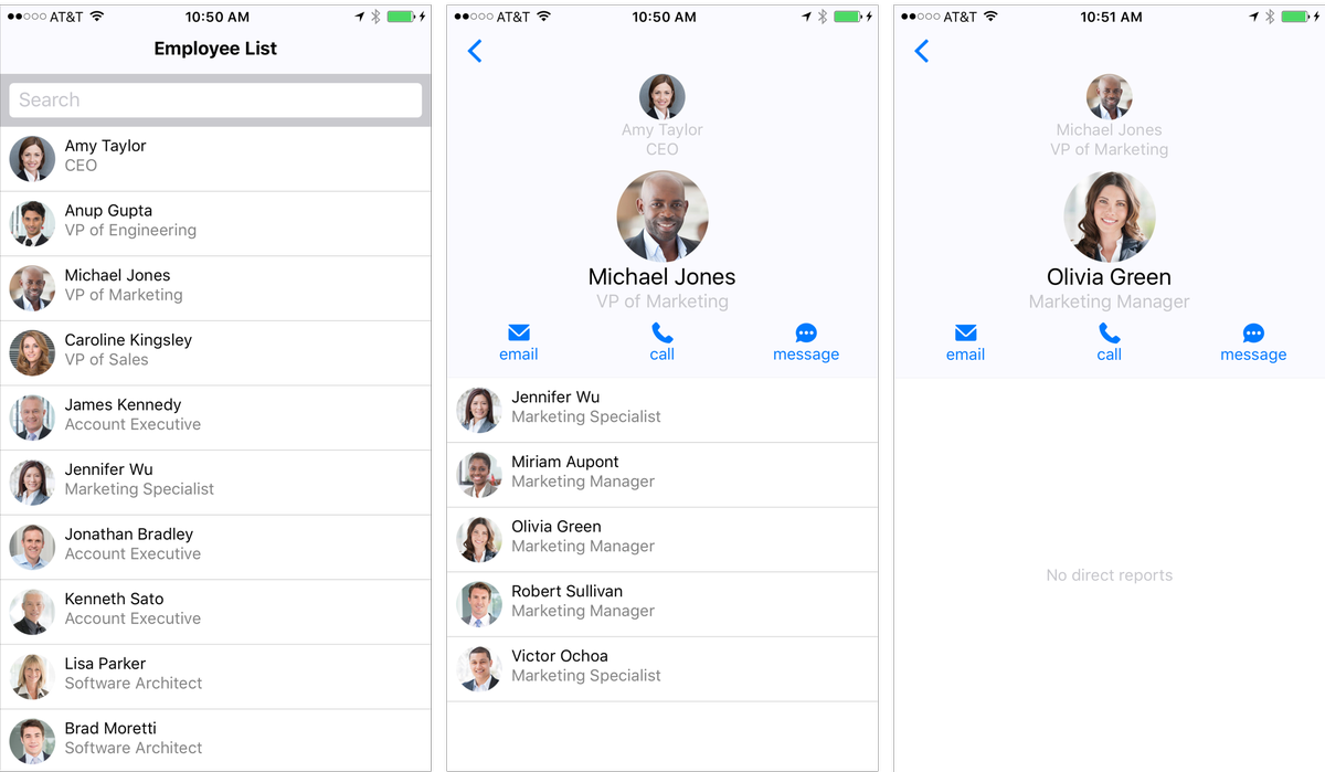 Employee Directory : Sample Application with React Native and Node