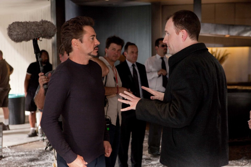 Kevin Feige on the set of Iron Man 3, with star Robert Downey Jr.