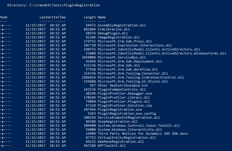 A listing of the files related to the PluginRegistration tool as they appear after installation of the NuGet package