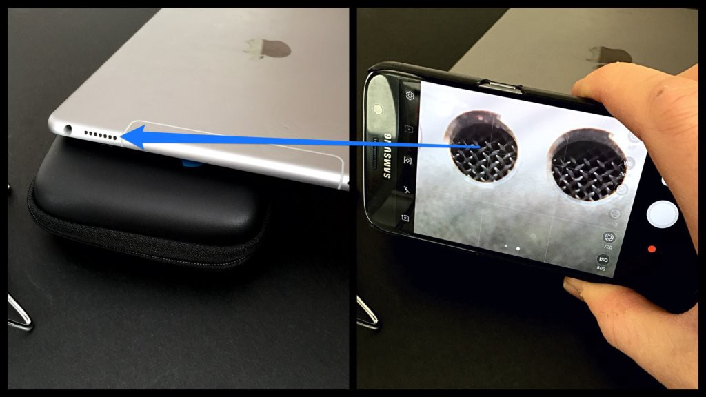 Macro photography on your smartphone - close up of iPad speakers