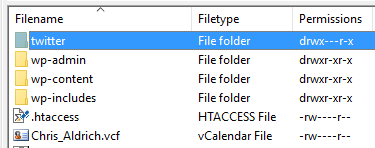 The twitter folder in my WordPress directory with all of the downloaded files.