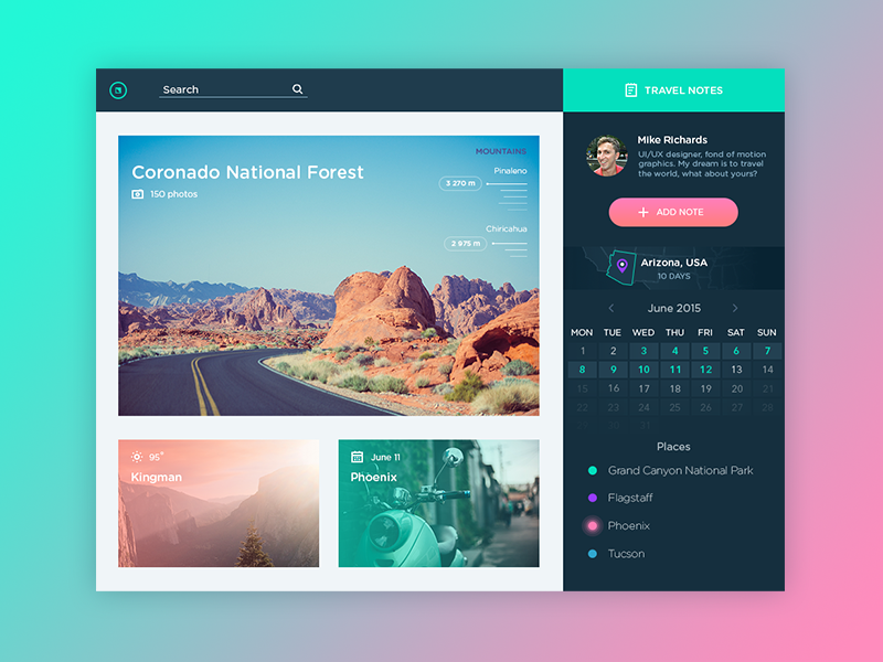 try using colors as a background not only in the work itself - Ui Design Ideas