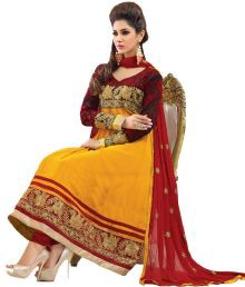 Silkbazar Yellow Embroidered Pure Georgette Dress Material