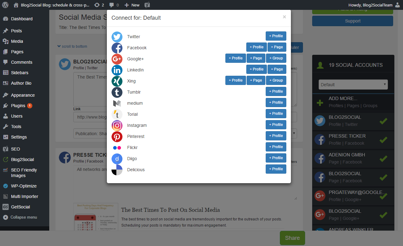 Blogpost share and add networks with Blog2Social